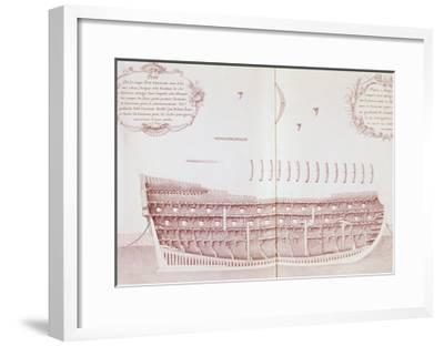 Longitudinal Section of Vessel Launched onto Sea, Is Atlas Di Colbert, France, 17th Century--Framed Giclee Print