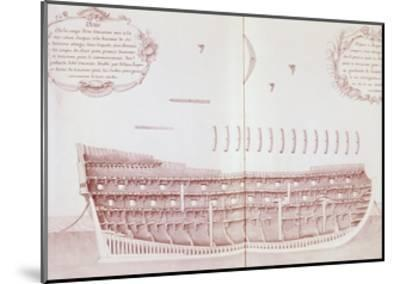 Longitudinal Section of Vessel Launched onto Sea, Is Atlas Di Colbert, France, 17th Century--Mounted Giclee Print