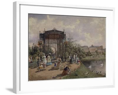 High Angle View of a Group of People Walking in a Park, Bastion Promenade, Vienna, Austria--Framed Giclee Print
