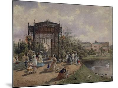 High Angle View of a Group of People Walking in a Park, Bastion Promenade, Vienna, Austria--Mounted Giclee Print