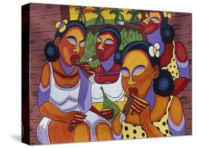 Hand-Painted Canvas at Craft Market in Front of Monastery of San Carlo in Havana, Cuba--Stretched Canvas Print