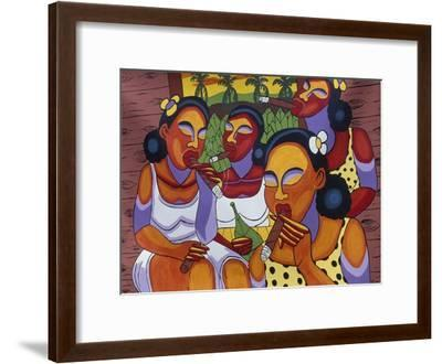 Hand-Painted Canvas at Craft Market in Front of Monastery of San Carlo in Havana, Cuba--Framed Giclee Print