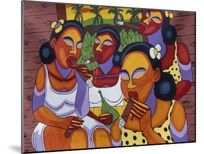 Hand-Painted Canvas at Craft Market in Front of Monastery of San Carlo in Havana, Cuba--Mounted Giclee Print
