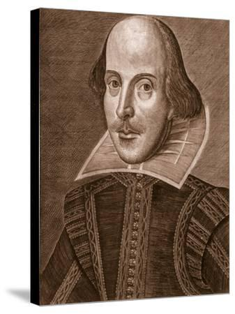 Portrait of William Shakespeare, Engraved by Martin Droeshout (C.1560-C.1642), 1623--Stretched Canvas Print