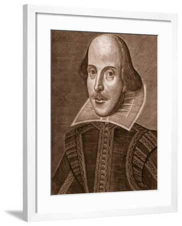 Portrait of William Shakespeare, Engraved by Martin Droeshout (C.1560-C.1642), 1623--Framed Giclee Print