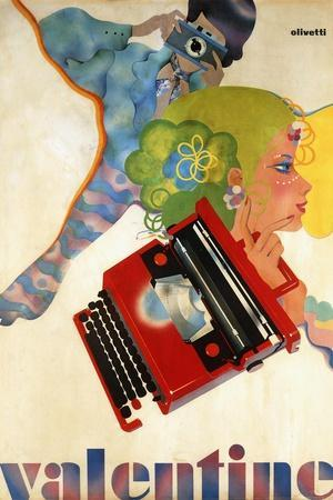 An Olivetti 'Valentine' Typewriter Promotional Poster, C.1969 (Colour Print, Wooden Frame)--Stretched Canvas Print