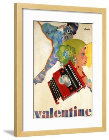 An Olivetti 'Valentine' Typewriter Promotional Poster, C.1969 (Colour Print, Wooden Frame)--Framed Giclee Print