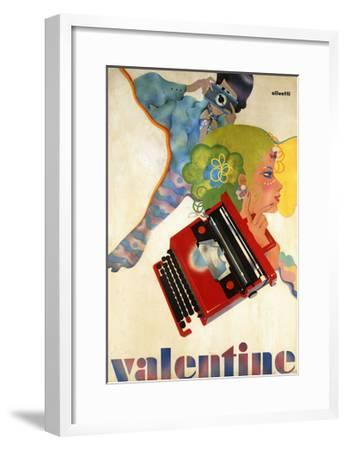 An Olivetti 'Valentine' Typewriter Promotional Poster, C.1969 (Colour Print, Wooden Frame)--Framed Giclee Print