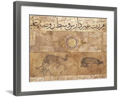 A Spotted Wolf and a Hyena, Late 15th Century (Illuminated Manuscript on Buff Paper)--Framed Giclee Print