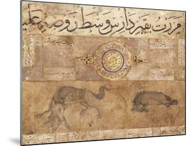 A Spotted Wolf and a Hyena, Late 15th Century (Illuminated Manuscript on Buff Paper)--Mounted Giclee Print