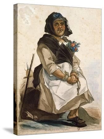 La Basana (Woman Sloppy and Disheveled), 18th Century, by Carlo Lasinio (1759-1838), Colored--Stretched Canvas Print