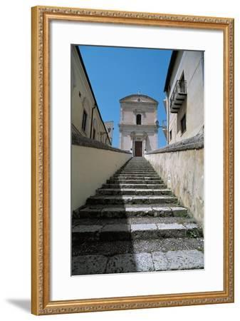 Low Angle View of Buildings Along a Staircase, Racalmuto, Sicily, Italy--Framed Giclee Print