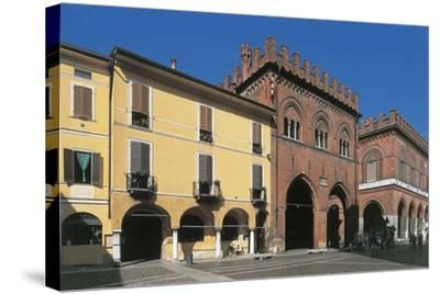 Low Angle View of Buildings, Town Hall Square, Cremona, Lombardy, Italy--Stretched Canvas Print