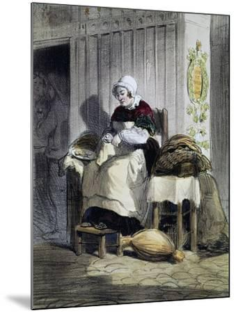 Woman Opening Oysters (Ecailliere), Print from the Women of Paris Series, France, 19th Century--Mounted Giclee Print