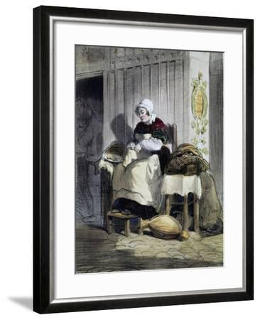 Woman Opening Oysters (Ecailliere), Print from the Women of Paris Series, France, 19th Century--Framed Giclee Print