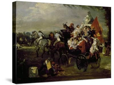 Carriage with Bearing People with Masks in Place De La Concorde in Paris, 1834, Painting by Lamy--Stretched Canvas Print