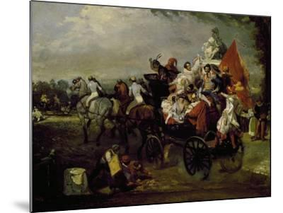 Carriage with Bearing People with Masks in Place De La Concorde in Paris, 1834, Painting by Lamy--Mounted Giclee Print