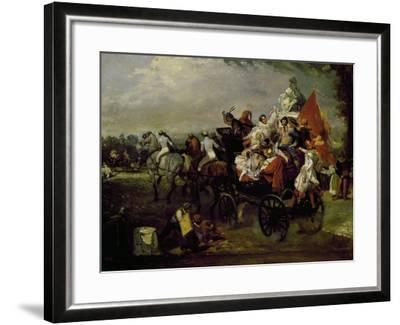 Carriage with Bearing People with Masks in Place De La Concorde in Paris, 1834, Painting by Lamy--Framed Giclee Print
