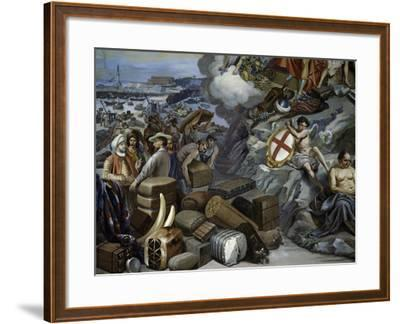 Ligurian Trade, Painting by Giuseppe Isola (1808-1893), Italy, 19th Century--Framed Giclee Print