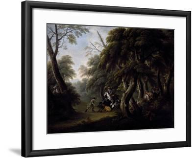 Wild Boar Hunting, End of 18th Century, Painting by Unknown Neapolitan Artist--Framed Giclee Print