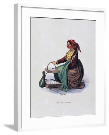 Egg Seller, by Gaetano Dura (1805-1878), Lithograph, Italy, 19th Century--Framed Giclee Print