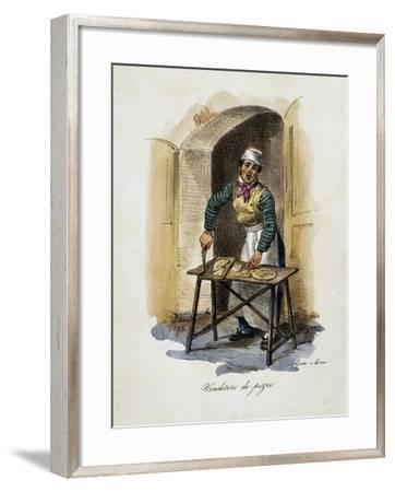 Pizza Seller, 1825, by Gaetano Dura (1805-1878), Lithograph, Italy, 19th Century--Framed Giclee Print