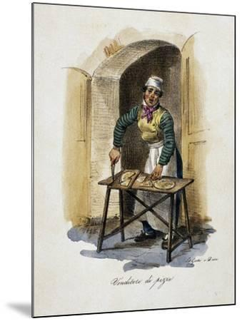 Pizza Seller, 1825, by Gaetano Dura (1805-1878), Lithograph, Italy, 19th Century--Mounted Giclee Print