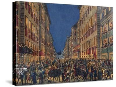 Torchlight Procession in Via Del Corso in Rome, Full Colour Print, Italy, 18th Century--Stretched Canvas Print