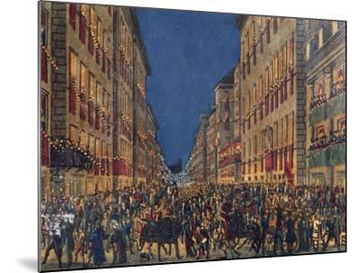 Torchlight Procession in Via Del Corso in Rome, Full Colour Print, Italy, 18th Century--Mounted Giclee Print