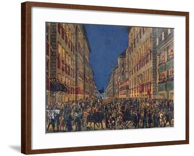 Torchlight Procession in Via Del Corso in Rome, Full Colour Print, Italy, 18th Century--Framed Giclee Print