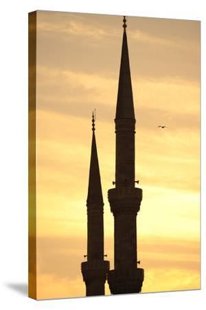 Turkey. Istanbul. Blue Mosque. 17th Century. Classical Ottoman Style. Sunset and Minarets--Stretched Canvas Print