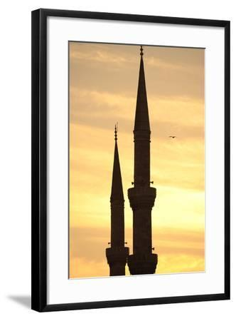 Turkey. Istanbul. Blue Mosque. 17th Century. Classical Ottoman Style. Sunset and Minarets--Framed Photographic Print