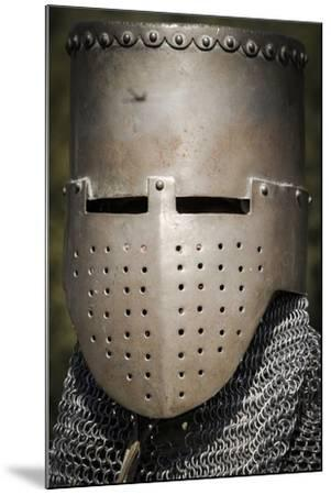 Historical Reenactment: Medieval Knight with Great Helm and Chain Mail, 13th Century--Mounted Photographic Print