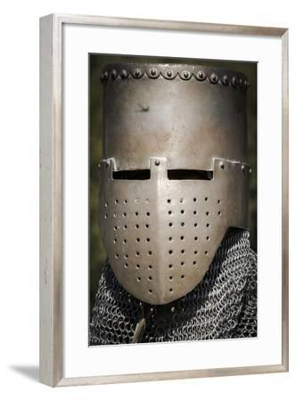 Historical Reenactment: Medieval Knight with Great Helm and Chain Mail, 13th Century--Framed Photographic Print