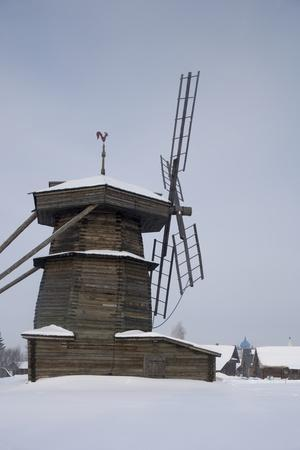 Wooden Windmill, Museum of Wooden Architecture and Peasant Life, Suzdal, Golden Ring, Russia--Framed Photographic Print