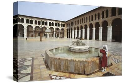 Rear View of a Woman Standing Near a Fountain in a Mosque, Umayyad Mosque, Damascus, Syria--Stretched Canvas Print