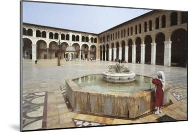 Rear View of a Woman Standing Near a Fountain in a Mosque, Umayyad Mosque, Damascus, Syria--Mounted Photographic Print
