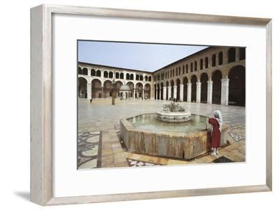 Rear View of a Woman Standing Near a Fountain in a Mosque, Umayyad Mosque, Damascus, Syria--Framed Photographic Print