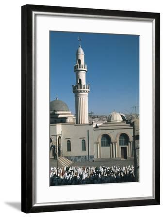 High Angle View of a Large Group of People Praying Outside a Mosque, Asmara, Etitrea, Ethiopia--Framed Photographic Print