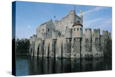Low Angle View of a Castle, Gravensteen Castle, Ghent, East Flanders, Flanders, Belgium--Stretched Canvas Print