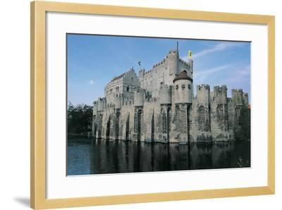 Low Angle View of a Castle, Gravensteen Castle, Ghent, East Flanders, Flanders, Belgium--Framed Photographic Print