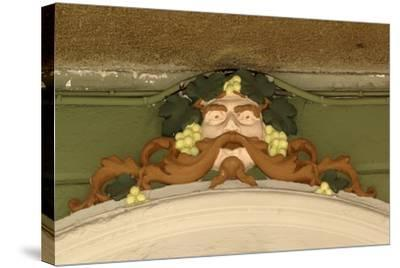 Mask of Bacchus, Painted Stucco Architectural Decoration, Vercelli, Piedmont, Italy--Stretched Canvas Print