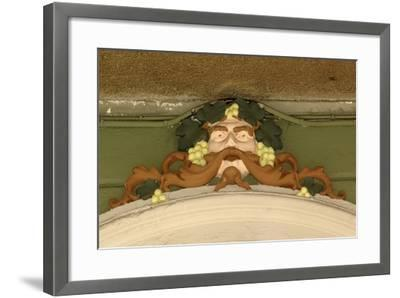 Mask of Bacchus, Painted Stucco Architectural Decoration, Vercelli, Piedmont, Italy--Framed Photographic Print