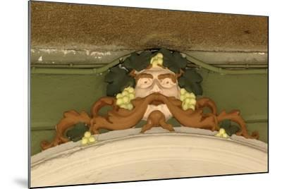 Mask of Bacchus, Painted Stucco Architectural Decoration, Vercelli, Piedmont, Italy--Mounted Photographic Print