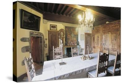 Dining Room, 1659, Chateau of Lespinasse, 12th Century, Auvergne, France--Stretched Canvas Print