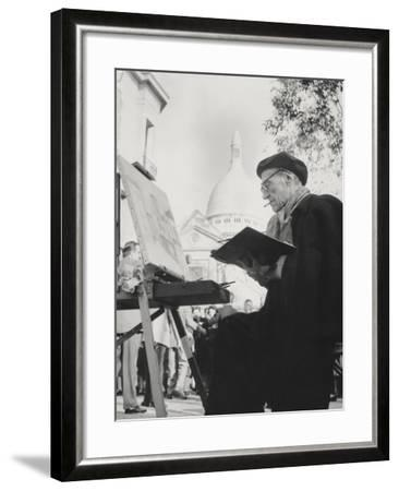 The Artist Maurice Utrillo Painting at His Easel in Montmartre, Paris, 1950'S--Framed Photographic Print