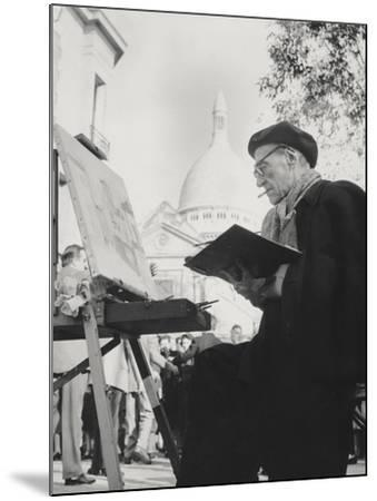 The Artist Maurice Utrillo Painting at His Easel in Montmartre, Paris, 1950'S--Mounted Photographic Print