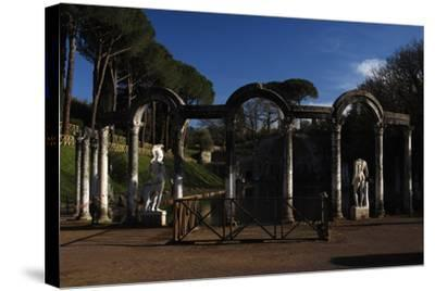 Hadrian's Villa. the Canopus with the Statue of God Mars. 2nd Century. Italy--Stretched Canvas Print