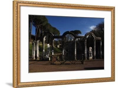 Hadrian's Villa. the Canopus with the Statue of God Mars. 2nd Century. Italy--Framed Photographic Print