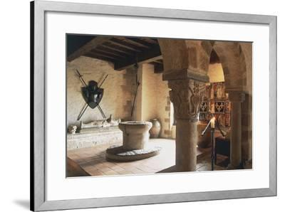 Guardroom of Chateau of Busseol, Founded in 12th Century, Auvergne, France--Framed Photographic Print